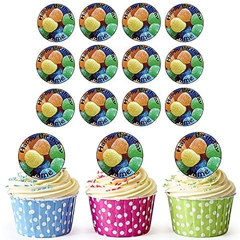 Jelly Tots 24personnalisé comestible pour cupcakes/décorations de gâteau d'anniversaire–Facile prédécoupée