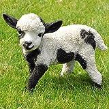 nanook Gartenfigur Schaf Gartendeko Tiere - Handbemalt, Wetterfest, Kunststein - schwarz weiß