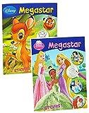 1 Stück: dickes Malbuch A4 mit 25 Sticker - 128 Seiten - für Mädchen - große Malvorlagen - Disney Cars - Princess - Tiere - Bambi - König der Löwen - Mickey Mouse u.v.m. - Malbücher Ausmalbilder Aufkleber