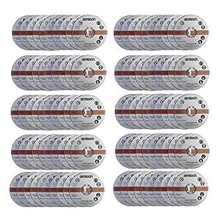 100 Pack Am-Tech 1.2mm x 115mm Thin Metal Cutting Discs - 3 Year Warranty