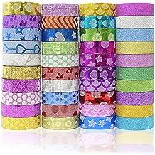 JUSLIN 40 rollos de cinta de papel, grandes artesanías, se puede utilizar en DIY, álbum de recortes, cajas de regalo, álbumes de fotos y otros decorativos, cintas multifuncionales