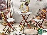 SAM® 3-teilige Balkon-Gruppe, Garten-Möbel aus Akazien-Holz, Tischgruppe bestehend aus 1 x Tisch + 2 x Klappstuhl, geölt, Sitzgruppe mit Oberflächen in weiß, zusammenklappbar, leicht zu verstauen
