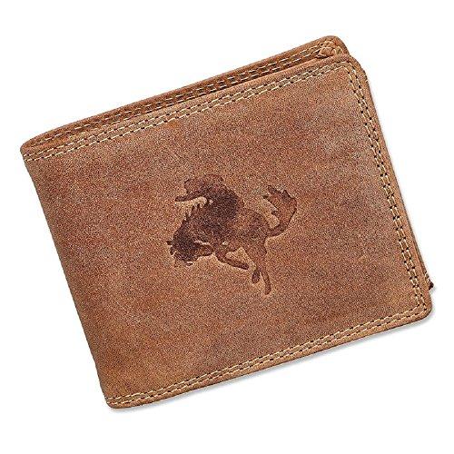 Cowboy-leder-geldbörsen (Herren Geldbörse Portmonee Portemonnaie Geldbeutel echtes Leder Cowboy Braun)
