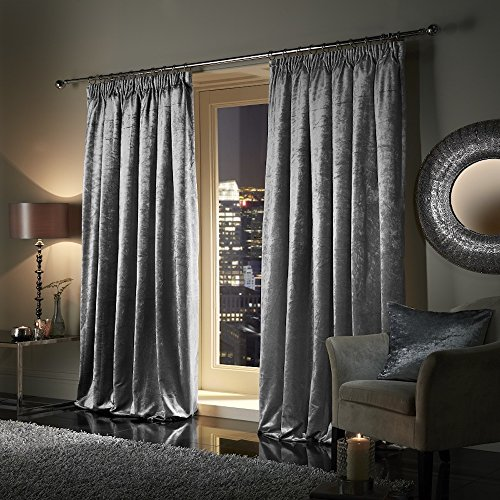 Pair of Plush Crushed Velour Faux Velvet PENCIL PLEAT/TAPE TOP Curtains, by VICEROY BEDDING (46″ width x 72″ depth (116cm x 183cm), Silver)