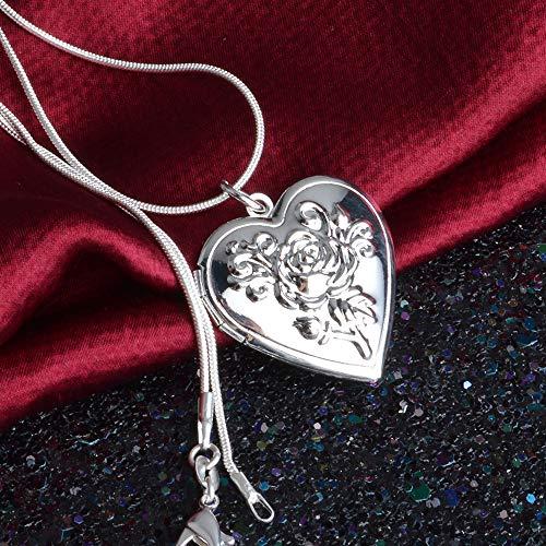 JEXXI Klassische Vintage-Rosen-Blumen-Medaillon silber, Doppelherz-Halskette, Foto-EL-Kragen-Anhänger, für Damen -