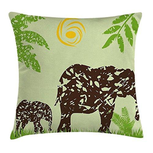Grunge Decor Funda de cojín, diseño de elefantes africanos en el campo,...