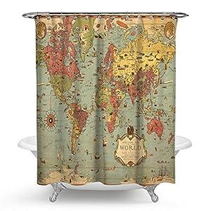 "kisy antiguo mapa del mundo impermeable cortina de ducha de baño antiguo Shabby Chic brújula náutico mapa histórico educativo arte baño cortina de ducha tamaño estándar 70""x 70,"" vintage"