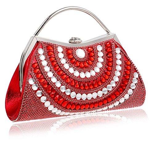 Strawberryer Diamond-cloutés Femmes Sac De Soirée Europe Et Les États-Unis Banquet Clutch Dress Décoration Mobile Phone Storage Clutch red