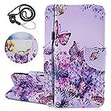 Coopay S6 Hülle,für Samsung Galaxy S6 Wallet Case Bookstyle,Prägen Muster Schutzhülle Ledertasche Ständer-Kartenfächer Lederhülle Brieftasche + 1x Schlüsselband,Elegant Schmetterling Blumen