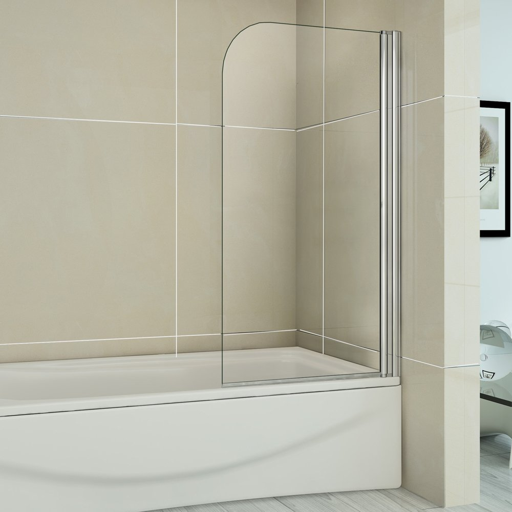 1200x1400mm chrome 180 degree pivot bath shower screen with glass 1200x1400mm chrome 180 degree pivot bath shower screen with glass shelves towel rail amazon co uk kitchen home