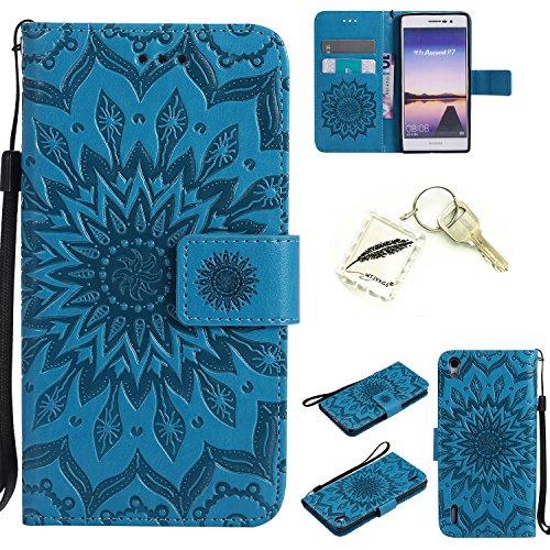 Preisvergleich Produktbild Silikonsoftshell PU Hülle für Huawei Ascend P7 (5 Zoll) Tasche Schutz Hülle Case Cover Etui Strass Schutz schutzhülle Bumper Schale Silicone case+Exquisite key chain X1#KD (3)
