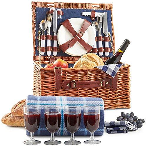 VonShef Klassischer Picknickkorb Deluxe mit Besteck, Geschirr, Gläsern & Fleecedecke für 4 Personen