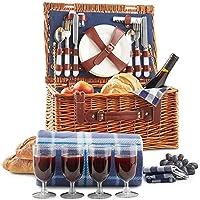 VonShef Cesta de Mimbre Tradicional para Picnic con Cubiertos, Platos, Copas, Vajilla y Manta de Lana 4 Personas
