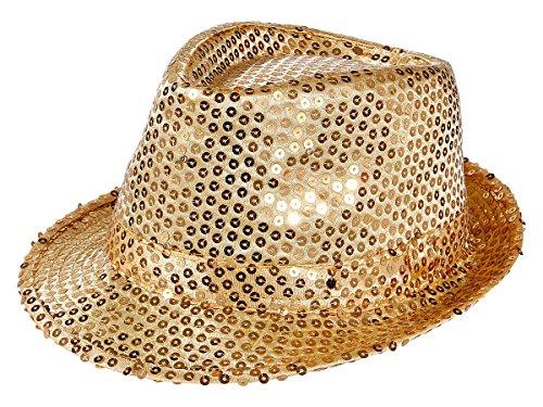 Alsino LED Pailettenhut Clubstyle Partyhut Trilby Pailletten Hut Blink Fedora Bogart Glitzerhut Glitter, Farbe wählen:TH-44 gold