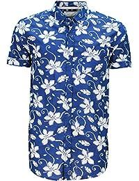 Hommes Soulstar Tiki 6 Coton Chemise Imprimé Floral Boutonné Haut Avec Tourné Vers Le Haut Manches