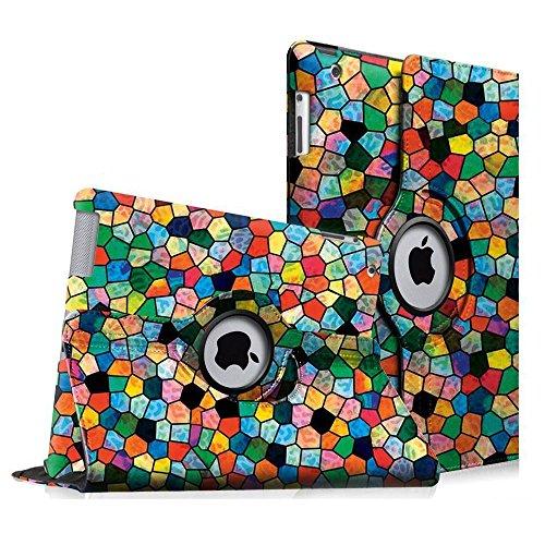 Fintie Apple iPad 2 / iPad 3 / iPad 4 Retina Hülle Case Schutzhülle Etui Tasche - 360 Grad Rotierend Stand Cover mit Auto Schlaf/Wach Funktion, Mosaic