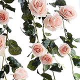Amknn Rose Artificielle en Soie Faux de Lierre à Suspendre Faux Feuilles de Plantes Guirlande de Mariage Décoration Murale de Jardin, Rose, 180 cm/ 70.87 inch