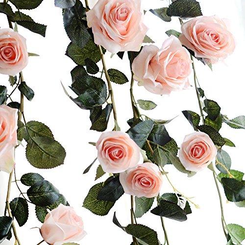 Amknn Rose Künstliche Seidenrose Efeurebe künstliche Hängepflanze Blätter Girlande Hochzeit Party Garten Wand Dekoration, Pink Rose, 180 cm/ 70.87 inch (Pink Silk Rosen)
