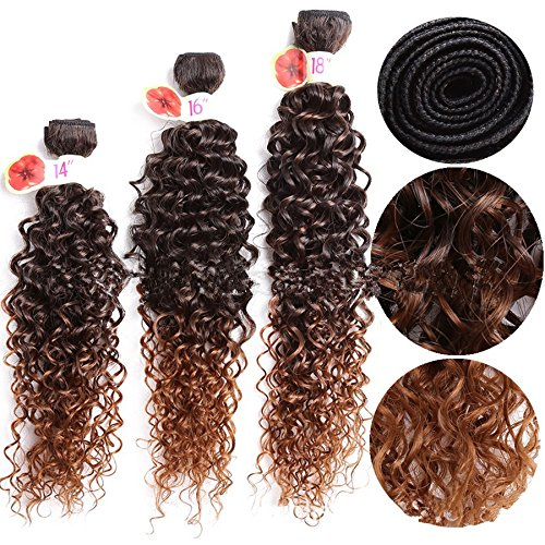 14–45,7cm ombre viola jerry curly weaves extension per capelli sintetici cucire in capelli di tessitura trame sintetico bundles