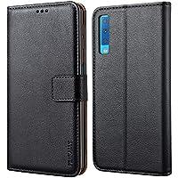 Peakally Cover per Samsung Galaxy A7 2018, Flip Caso in PU Pelle Premium Portafoglio Custodia per Samsung Galaxy A7 2018, [Kickstand] [Slot per Schede] [Chiusura Magnetica]-Nero