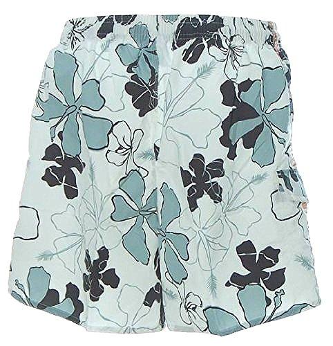 Shiwi Herren Badeshorts Shorts Badehose Boardshorts Blumen Weiß