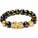 TiSkying Braccialetto Pi Xiu Braccialetto Feng Shui Ricchezza Ossidiana Nera, Braccialetto cinese con braccialetto di perle d