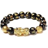 Excras - Braccialetto portafortuna Feng Shui, braccialetto della ricchezza Pi Xiu con perle in ossidiana nera naturale…