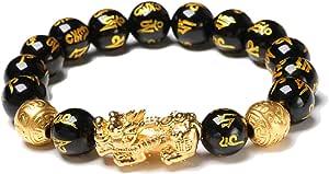 Excras - Braccialetto portafortuna Feng Shui, braccialetto della ricchezza Pi Xiu con perle in ossidiana nera naturale con elementi dorati