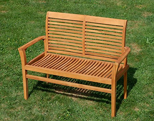 TEAK Design Gartenbank Parkbank Sitzbank 2-Sitzer Bank Gartenmöbel Holz sehr robust Modell: ALPEN120 von AS-S - 6