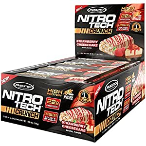 MuscleTech NitroTech Crunch Protein Bar, Strawberry Cheesecake, Gluten Free, 65 g, 12-Count
