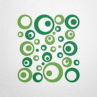 WANDfee® Wandtattoo 50 Retro Kreise AC0711211 Größe Ø 2 x 20 cm, 6 x 15 cm, 10 x 10 cm, 20 x 6 cm, 12 x 3 cm Farbe hellgrün grün