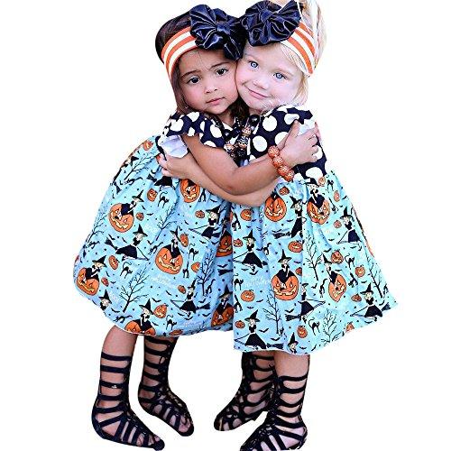URSING Kleinkind Kinder Baby Mädchen niedlich Halloween Pulloverhemd Kürbis Karikatur Prinzessin Fliegende Ärmel Ärmellos Knielangen Kleid A-Line Kleid schick einzigartig weich Outfits Kleider (100CM, Blau) (Süßeste Halloween)