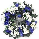 30cm artificial azul y marfil y crema rosa corona/vela anillo para en o al aire libre–Home tumba boda