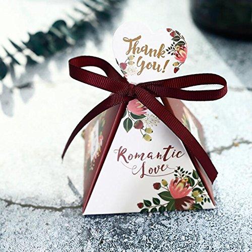 Jun DIY Papier Hochzeit Sweet Box Forest Triangle chocholate Geschenkbox Hochzeit Geburtstag Süßigkeiten Boxen für Party Favor, Arztausstattung, 36Stück, burgund (Stück-polka Dots-band 2)
