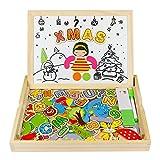 Puzzle di Legno Magnetico Giocattoli A Due Lati Del Tavolo da Disegno Giochi Matematici per i Bambini Oltre 3 Anni (93 Pz)