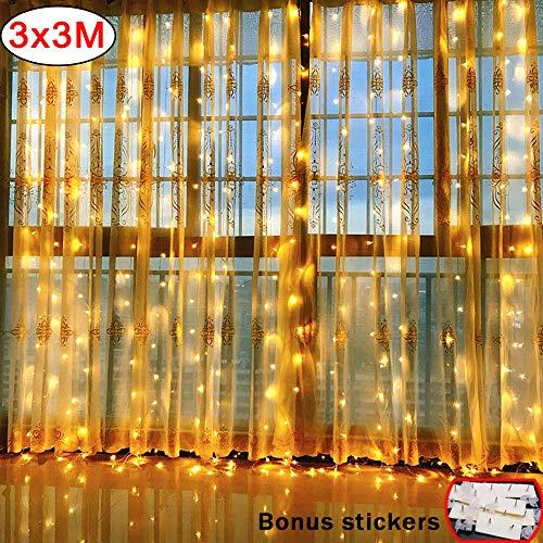 VSTON Tenda Luci Led Esterno Interno Natale Stringa Luci Caldo Bianca Cascata Natale Tenda Luci Cascata Festival Decorazione da Festa, 304 LEDs 3M x 3M 8 Modalità