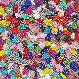 Satin-Blumen mit Strass-Stein in der Mitte, für Kunsthandwerke, 25mm, mehrfarbig multi