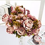 gaddrt Fake Pfingstrosen Vintage Künstliche Pfingstrose Seidenblume Blumenstrauß Künstlich Groß Hause Hochzeit Party Deko Pure Pink 2 pc