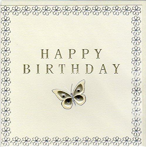 ZIZI Fusion Geburtstagskarte Butterfly Happy Birthday mit Swarovski Kristallen FN001 (Happy Birthday Butterfly)