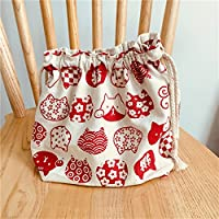 Preisvergleich für Yudanwin Leinwand-Lunch-Tasche Cartoon süße Katze Kordelzug Lunchpaket Isolierung Pack (weiß rot Cat Kopf)