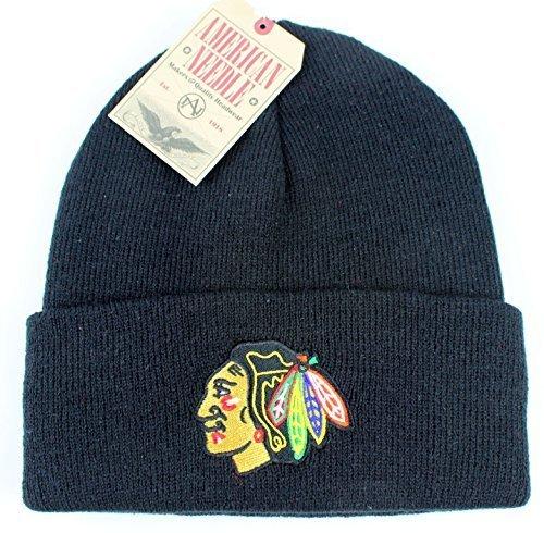Chicago Blackhawks NHL American Needle Basic Beanie Knit Hat - Black by American Needle (American Needle Black)