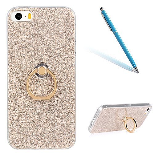 "Translucide Cover avec Kickstand Ring pour Apple iPhone 5G/5s/SE 4.0"", CLTPY Soft Gomme Shell dans Scintillate Glint Motif Antipoussière Anti-rayures Ultra Mince Léger Fit pour iPhone 5G,iPhone 5s,iPh Gold 1"