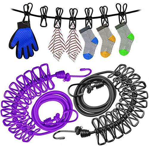 BESTZY Wäscheleine,2Pcs Flexible Wäscheleine Tragbare Elastic Winddichte Kleidung Trockner mit mit 12 beschichteten Klammern