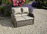 greemotion Rattan-Lounge Bahia Rondo, Sofa & Bett aus Polyrattan, indoor & outdoor, 2er Garten-Sofa mit Stahl-Gestell, Daybed, braun-beige - 4