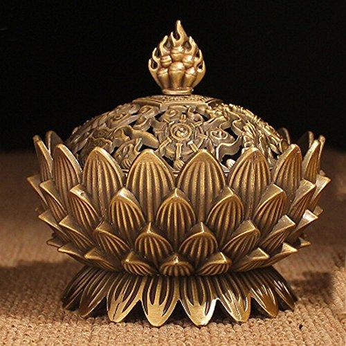 Metal de Aleación xiduobao Buda quemador de incienso soporte de flor de loto quemador de incienso portavelas censer- budista decoración, decoración del hogar.
