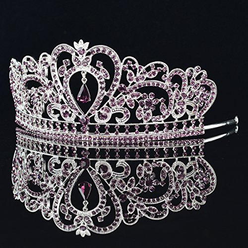 Remedios Cristal mariage royal tiare Couronne Prom Pageant Diadème Bandeau Voile avec pendentif Argent & Lilas