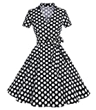Caissen Damen 50er Vintage Retro Kurzarm Rockabilly Cocktail Kleid Polka Punkte Swing Partykleid Reißverschluss Schwarz Weiße Gepunktet Größe S