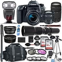 Canon EOS 77D DSLR Camera With 18-55mm Lens, 75-300mm Lens & 500mm Preset Lens + Premium Accessory Bundle Including Canon 300DG Case, TTL Speedlite Flash, 64GB Memory, Monopod, Auxiliary Lenses & More