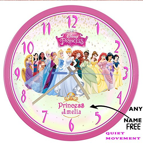 NEW! PINK QUIET METAL/GLASS 27.5 CM DISNEY PRINCESS Wall Clock Girl Add a name