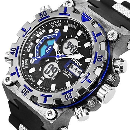 Sport Digitaluhr Armbanduhr Wasserdicht Militär Stoppuhr Alarm Datum LCD Gegenlicht SIBOSUN Doppelzone